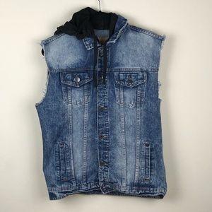 CARBON | Distressed Denim Jean Jacket Vest Hooded